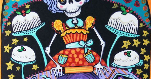 folk print mexican day of the dead kitchen wall decor