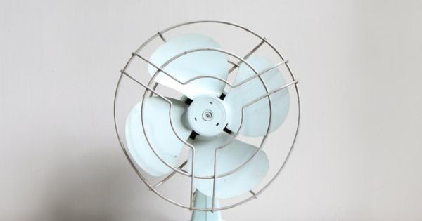Powder blue vintage electric fan