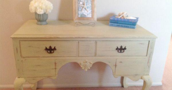 Vintage Desk Refinished With Folk Art Oatmeal Color Chalk
