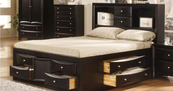 awesome queen bed frame with storage 12 drawer and bookcase headboard queen beds pinterest - Queen Bed Frames With Storage