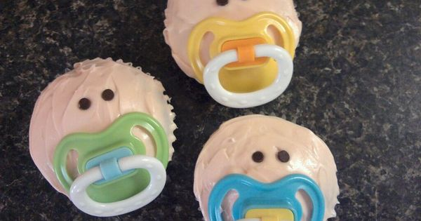 So cute and so easy! Pacifier cupcakes ~ Baby Shower Idea... make