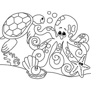 Sea Animals Cute Sea Animals Gathering Coloring Page Cute Sea
