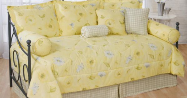 Laura Yellow Floral Amp Plaid Daybed Comforter Set Daybed