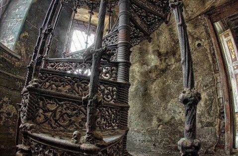 "Beautiful spiral staircase. ""Abandoned palace in Poland. What is it about abandoned"