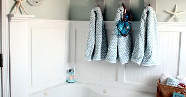 Love this corner tub with board and batten beach coastal - Decorating a beach house on a shoestring ...