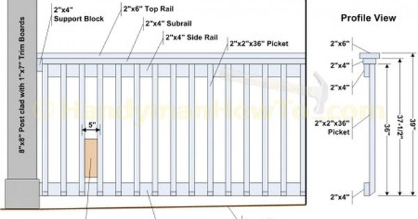 2x6 Porch Or Deck Rail Diagram Porch Railing Patio Railing Deck Railing Height