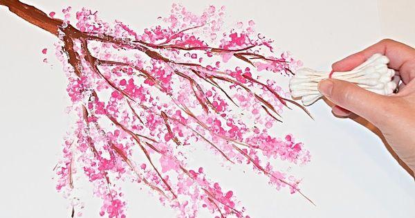 Cherry Blossom Tree Q Tip Acrylic Painting Technique Beginners Painting Cherry Blossom Painting Rangoli Designs Flower Acrylic Painting Techniques