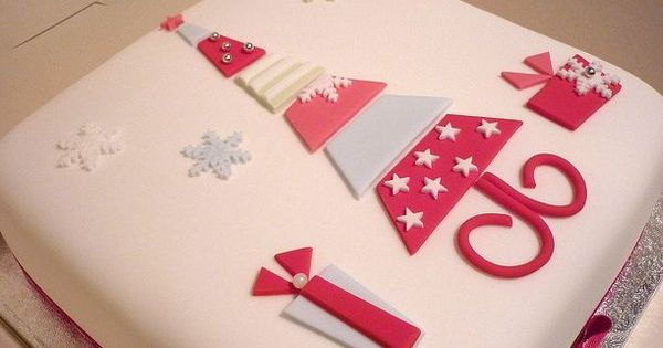 Asda Christening Cake Decorations : White square Christmas cake with tree in the middle in red ...