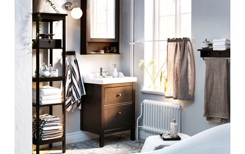Hemnes Mirror Cabinet With 2 Doors Black Brown Stain 83x16x98 Cm
