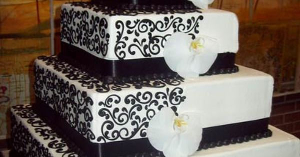 Black and White Square Wedding Cake with Orchids. @amanda bailey red flowers