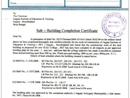 Building Completion Certificate sample pic Occupancy certificate - building completion certificate sample
