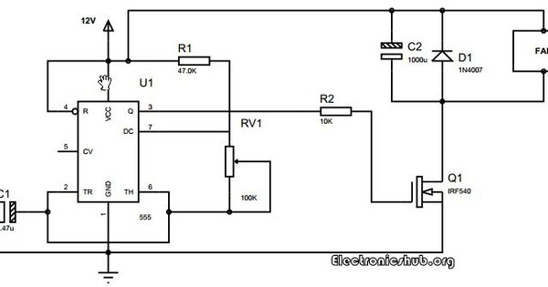 speed control of dc motor using pwm and 555 timer circuit