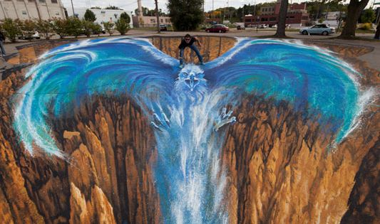 "3D Chalk Sidewalk Art ""Phoenix"" by Edgar Mueller"