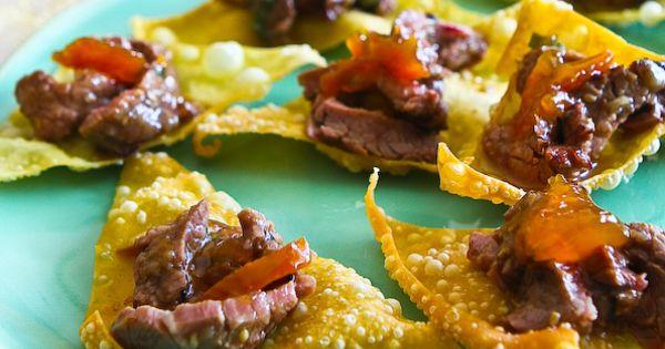 Korean BBQ Beef on Crispy Wonton Chip | Korean Bbq, Bbq Beef and ...