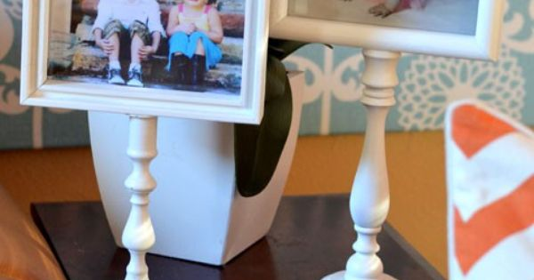 Glue the frame to candlestick and let dry overnight. Insert photo and