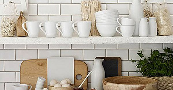 I love me some white subway tile + white ceramics + wood