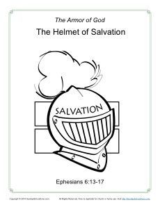 Helmet Of Salvation Coloring Page Armor Of God For Kids