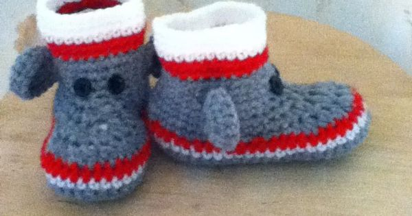 Free Crochet Pattern Sock Monkey Slippers : Crocheted Sock Monkey Slippers for toddlers My creative ...
