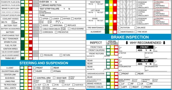Vehicle Safety Inspection Checklist Template  Google Search