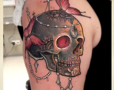 Skull tattoo with butterflies and necklaces. tattoo tattoos ink tattoo design tattoo