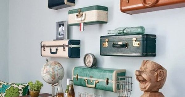 Vintage Luggage Home Decor, such a cool idea!