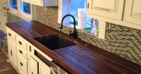built a pair of black walnut butcher block countertops to