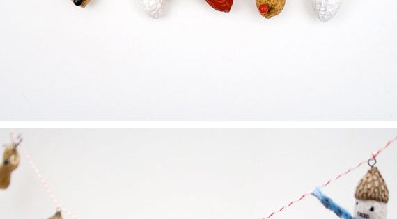 #DIY Peanut Christmas garland What a cute idea- but make the characters