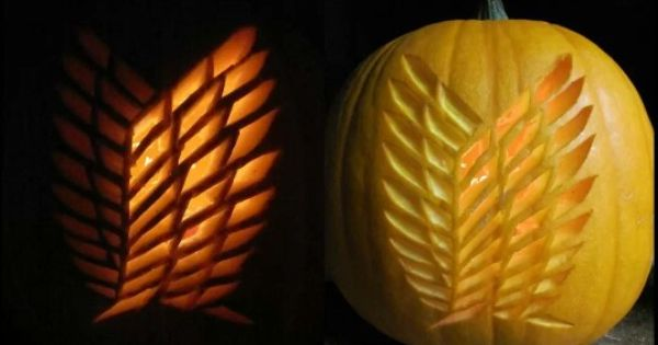 Shingeki no kyojin survey corps emblem pumpkin anime Awesome pumpkin drawings