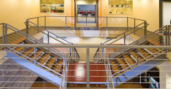 Custom Cable Rail In Commercial Setting Custom Assembled 1 4 Stainless Steel Cables With Fixed Surface Mount Cable Railing Steel Railing Stainless Steel Cable
