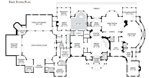 First floor plan of 1 frick drive 30 000 square feet for 30000 square foot house plans