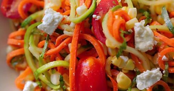 Roasted Carrots And Red Leaf Lettuce Salad With Buttermilk Herb Dressing Recipe Zucchini Noodles Salad Zucchini Noodles Food Network Recipes