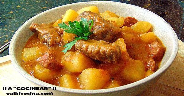 Patatas guisadas con costilla y chorizo cocinadas en olla - Patatas con costillas de cerdo ...