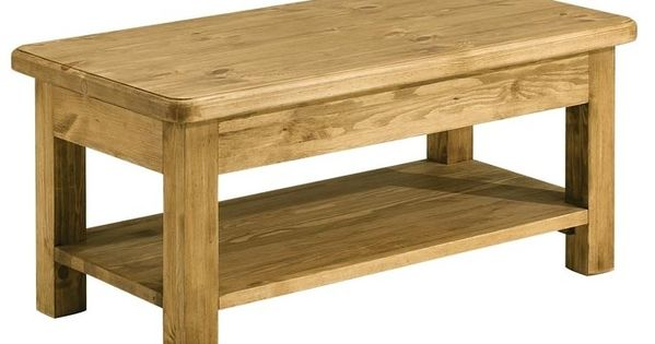 Table Basse Double Plateau Pin Cire 100 Cm Hannover Cabeceiras