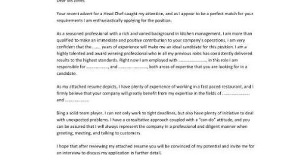 sample executive chef cover letter http www