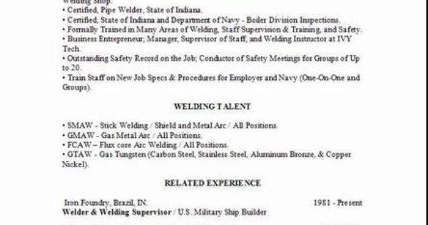 sample resume for welding position