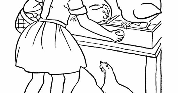 kids doing chores coloring pages - farm work and chores coloring page farm girl collecting