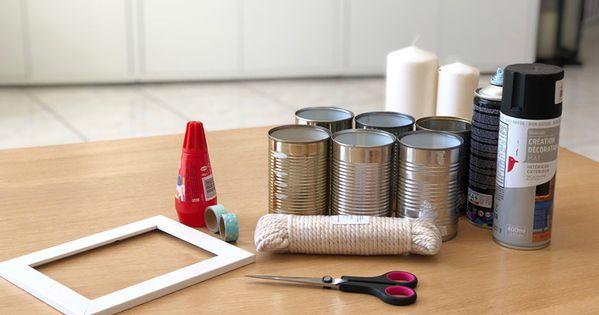 Une Boite A Outils Avec Des Boites De Conserve Diy Boite De Conserve Boites De Conserve Peintes Astuce Deco Rangement