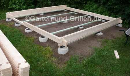 Selbstgemacht GartenhausBausatz auf Punktfundament