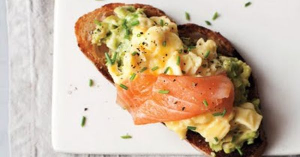 Scrambled eggs, avocado, and smoked salmon on toast... now that's breakfast!