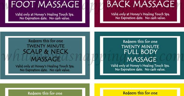 Massage Coupons for Him. (Gonna make my own custom coupons ...
