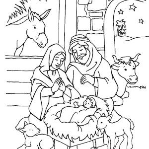 Scenery Of Nativity In Jesus Christ Coloring Page Scenery Of Nativity In Jesus Christ Color Nativity Coloring Pages Christmas Coloring Pages Nativity Coloring