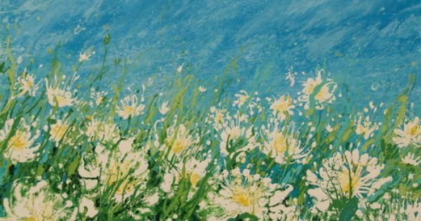 Big Daisy Meadow Acrylic On Canvas Meadow Abstract Painting Acrylic Flower Painting