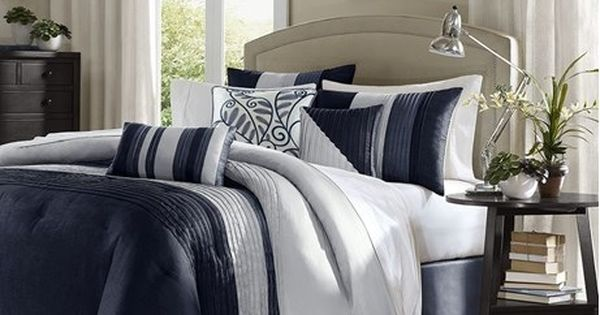 Amherst In Navy Blue And Cream Duvet Cover Sets By