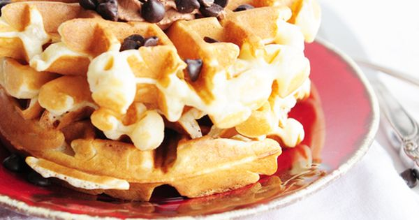 Belgian Cookie Dough Waffles with Chocolate Whipped Cream - 7 Appetizing Waffle