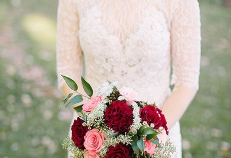 A mixed bouquet of red garden roses pink and red roses baby 39 s breath and greenery created by - Red garden rose bouquet ...