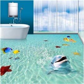 3d Green Sea Dolphins Fishes Starfishes Pvc Waterproof Non Slip Eco Friendly Floor Murals Floor Murals 3d Floor Art Floor Art