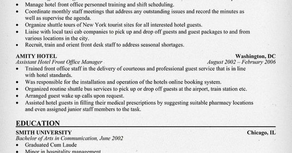 hotel front office manager resume  resumecompanion com