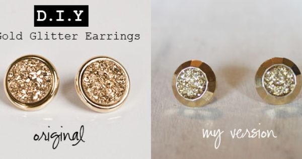gold glitter earrings DIY!! this weekends project!