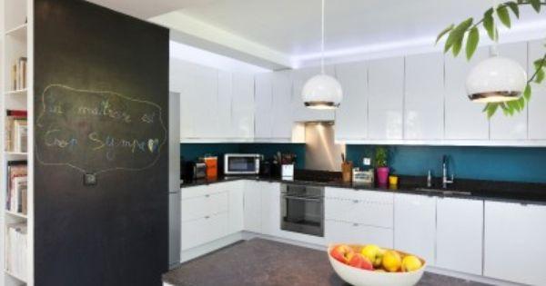 Cuisine moderne et design pan de mur en tableau noir for Cuisine moderne coloree