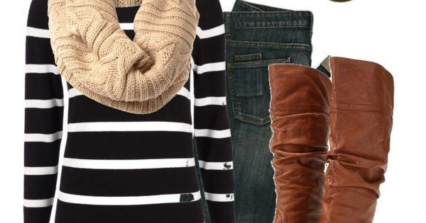 fall/ winter outfit - black white striped top, jeans, brown boots, infinity
